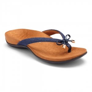 Vionic's Rest Bella II in denim. Comfortable flip flops with great arch support and looks!