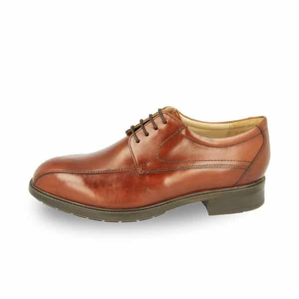 Side view of the Richmond by DB Wider Fit Shoes in brown. Orthotic friendly and stylish. Available at Footkaki, an orthopedic shoes shop.