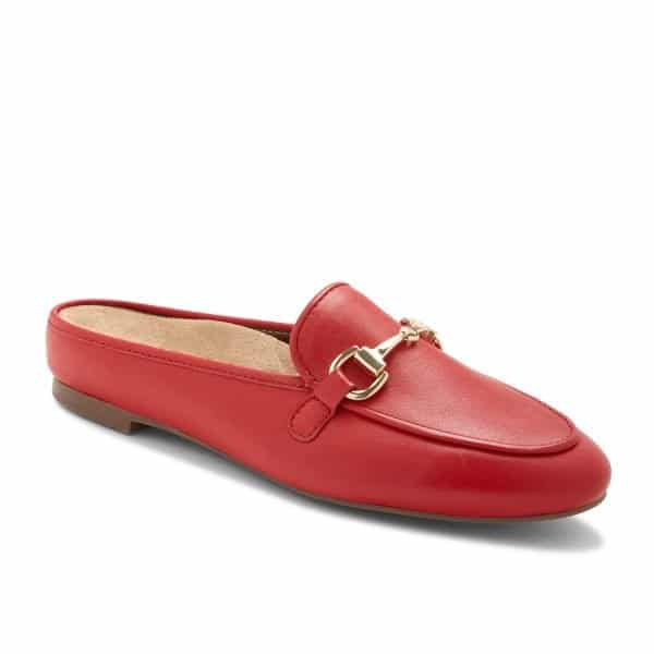 The Vionic Adeline in Red - a smart casual slip on shoe for ladies with arch support. Available in Singapore at Footkaki.