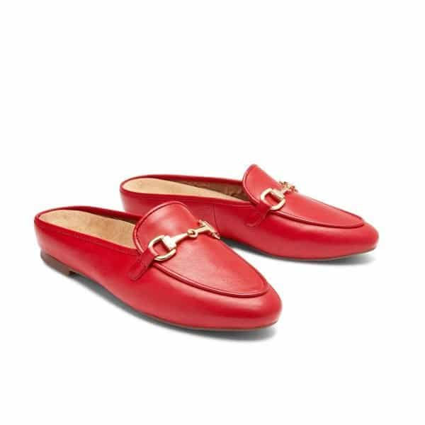 A pair of the Vionic Adeline in Red - a smart casual slip on shoe for ladies with arch support. Available in Singapore at Footkaki.